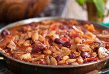 خوراک لوبیا چیتی با قارچ